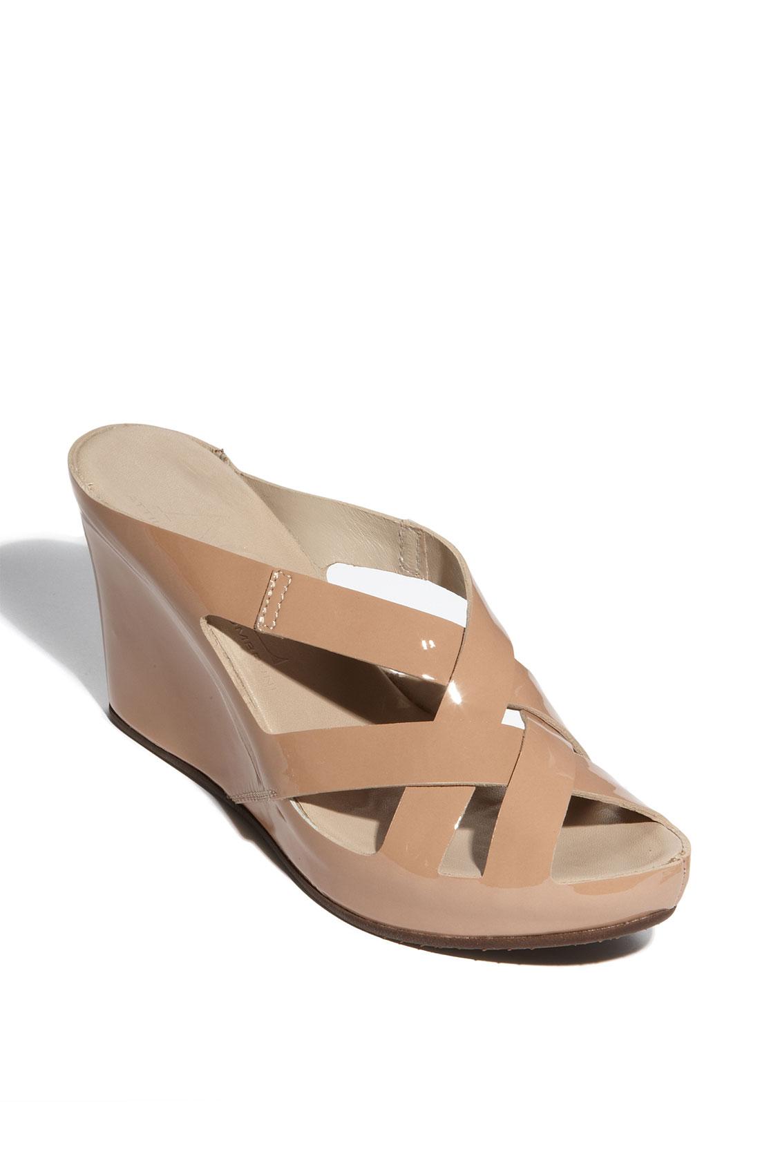 attilio giusti leombruni wedge sandal in beige