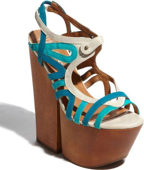 Jeffrey Campbell Follie Sandal in Multicolor (ivory blue green) - Lyst