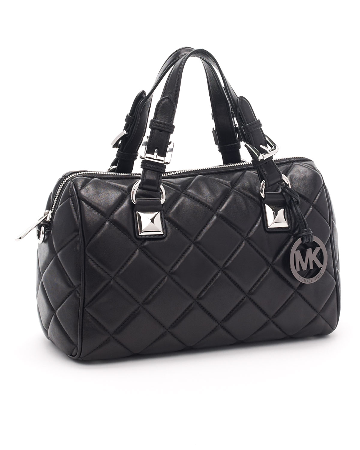 Michael michael kors Medium Grayson Quilted Satchel, Black in ...