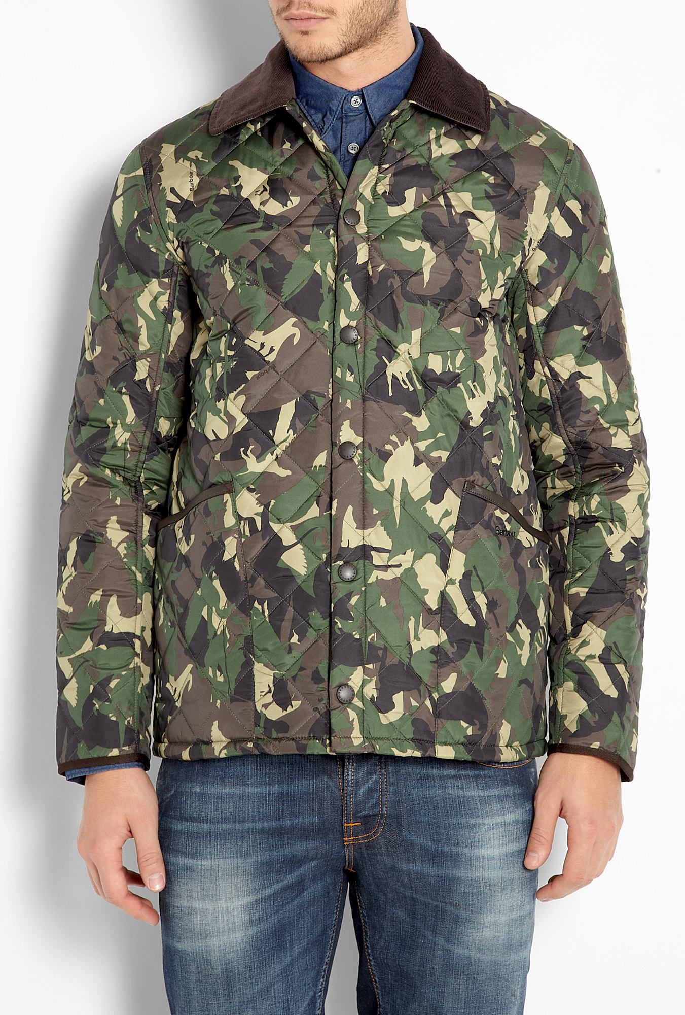 Barbour Camouflage Quilted Highfield Jacket In Green For