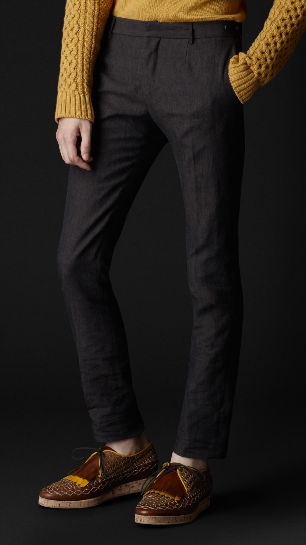 Burberry Prorsum Slim Fit Linen Trousers in Brown for Men