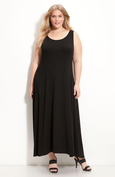 Eileen Fisher Sleeveless Knit Maxi Dress In Black Lyst