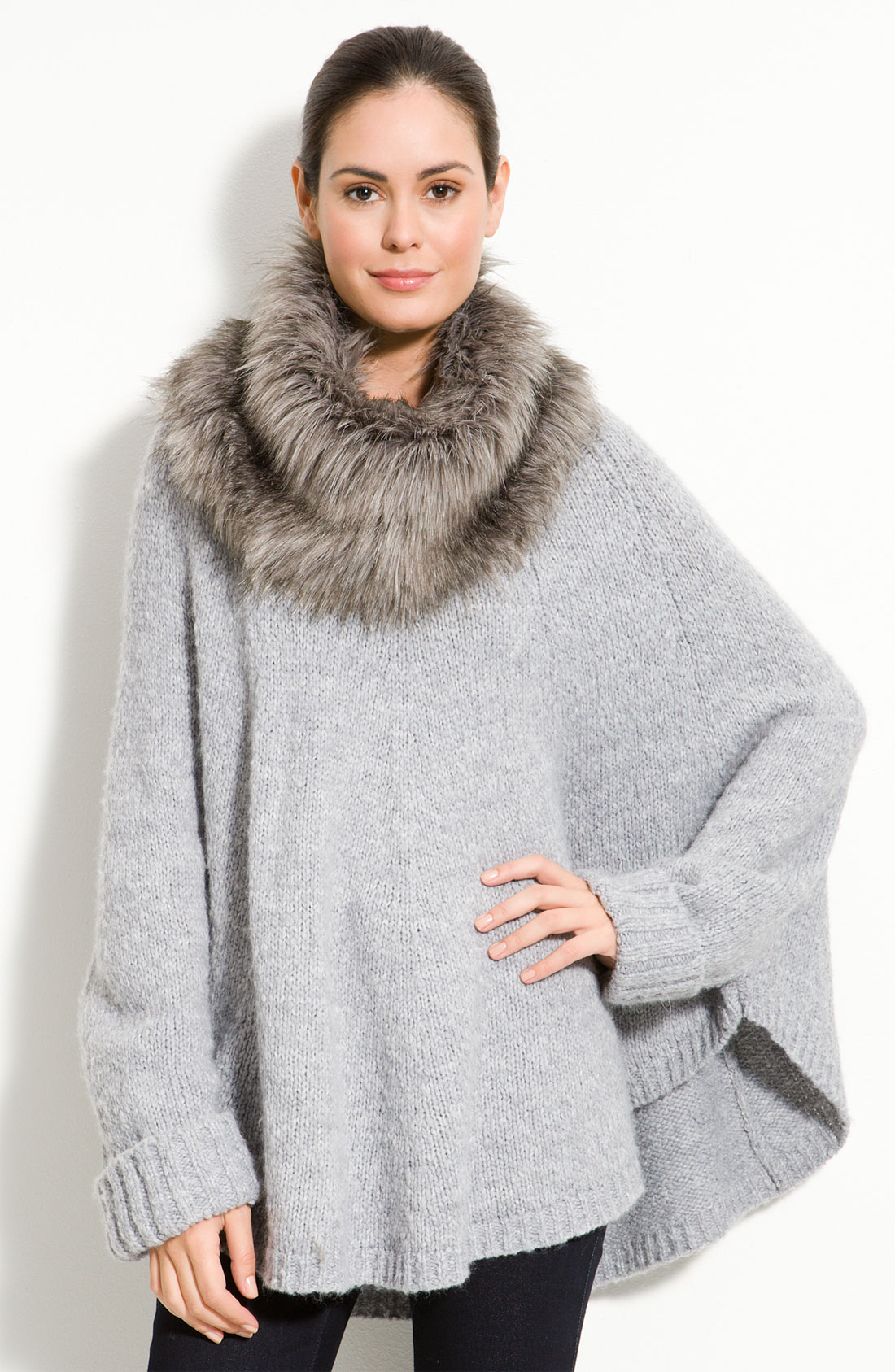 lyst michael michael kors poncho with faux fur trim in gray. Black Bedroom Furniture Sets. Home Design Ideas