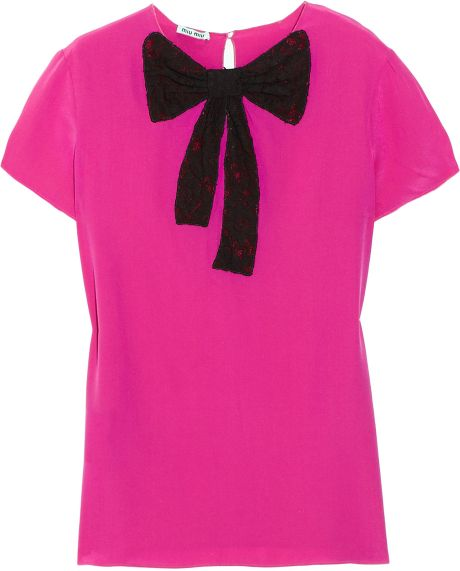 Miu Miu Lace-bow Silk Top in Purple (fuchsia) - Lyst