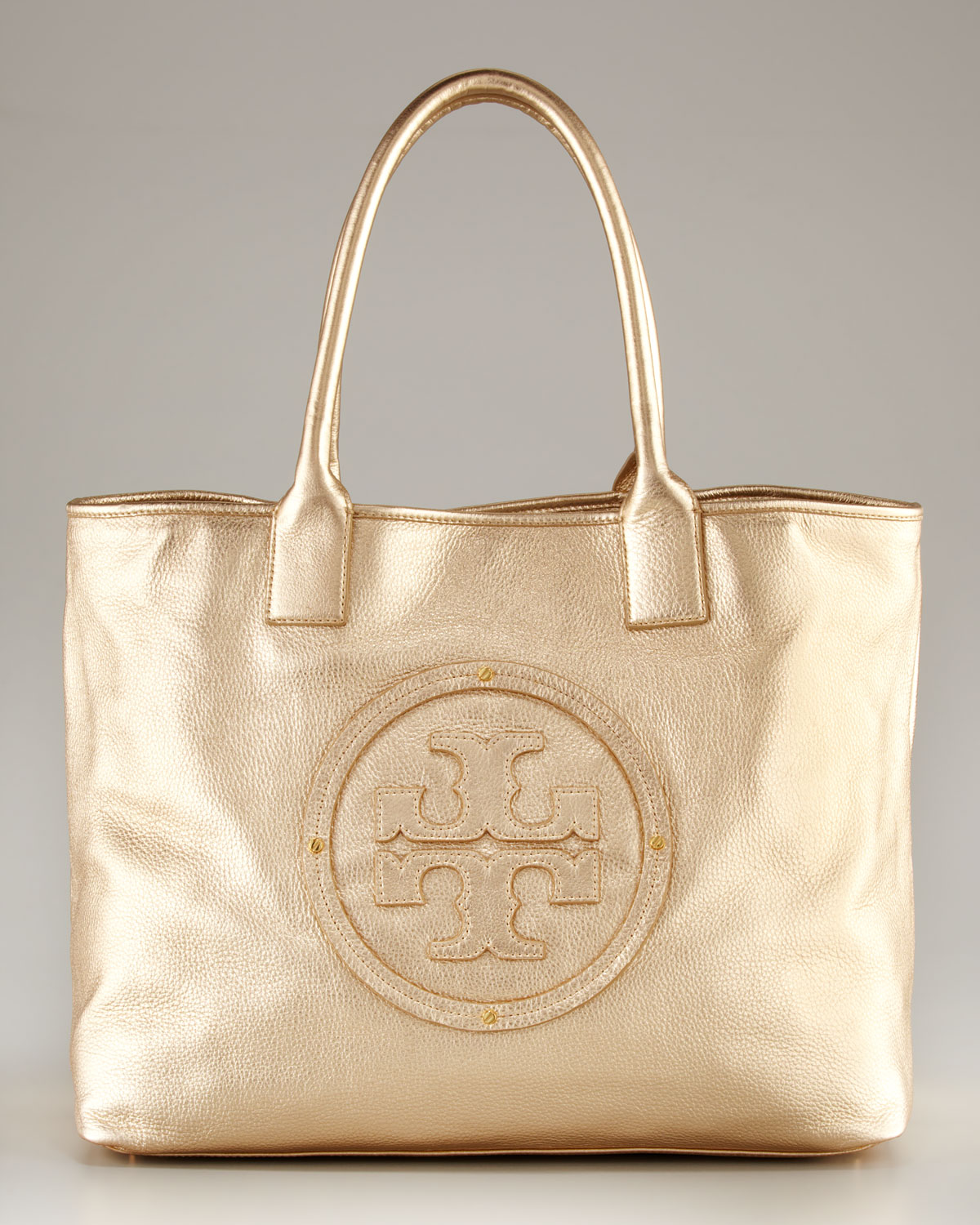 82fe88cc070 Tory Burch Stacked Logo Classic Tote in Metallic - Lyst