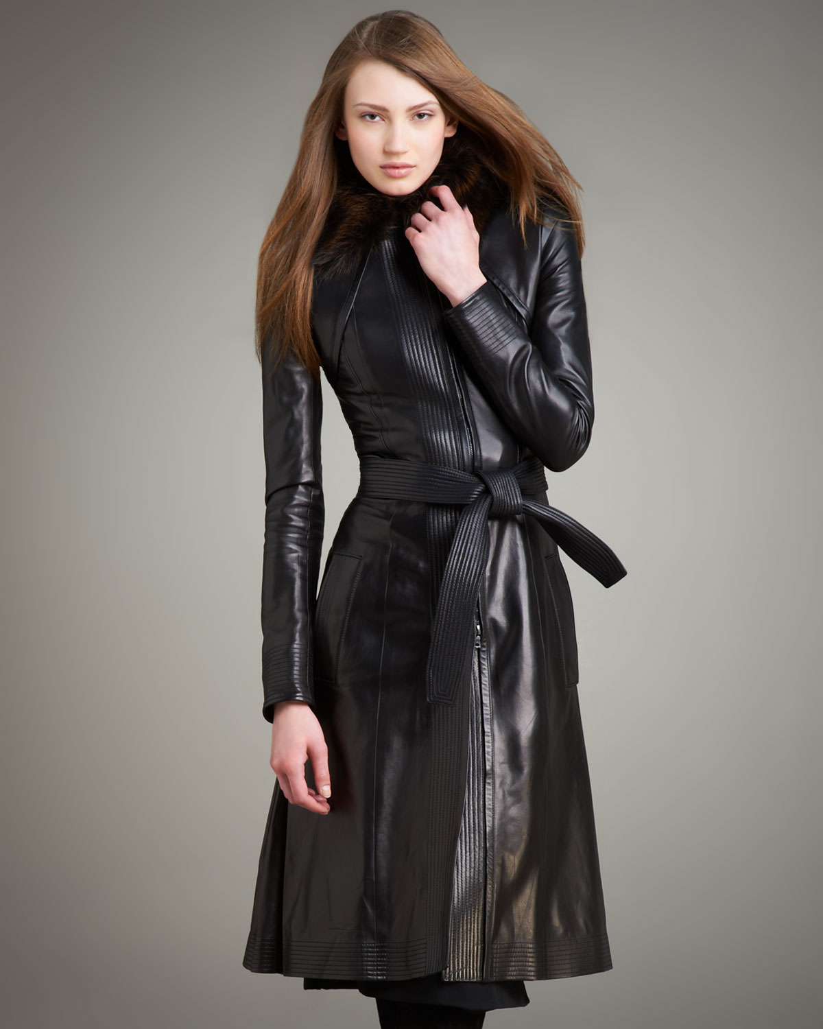 Narciso Rodriguez Fur-Collar Long Leather Coat In Black - Lyst-2379
