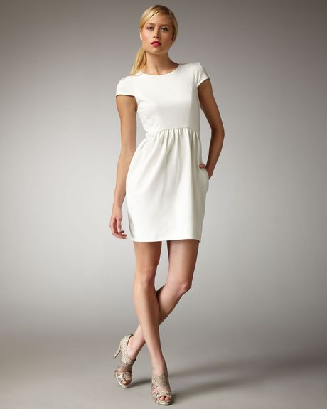 Shoshanna Capsleeve Shift Dress in White (ivory) - Lyst