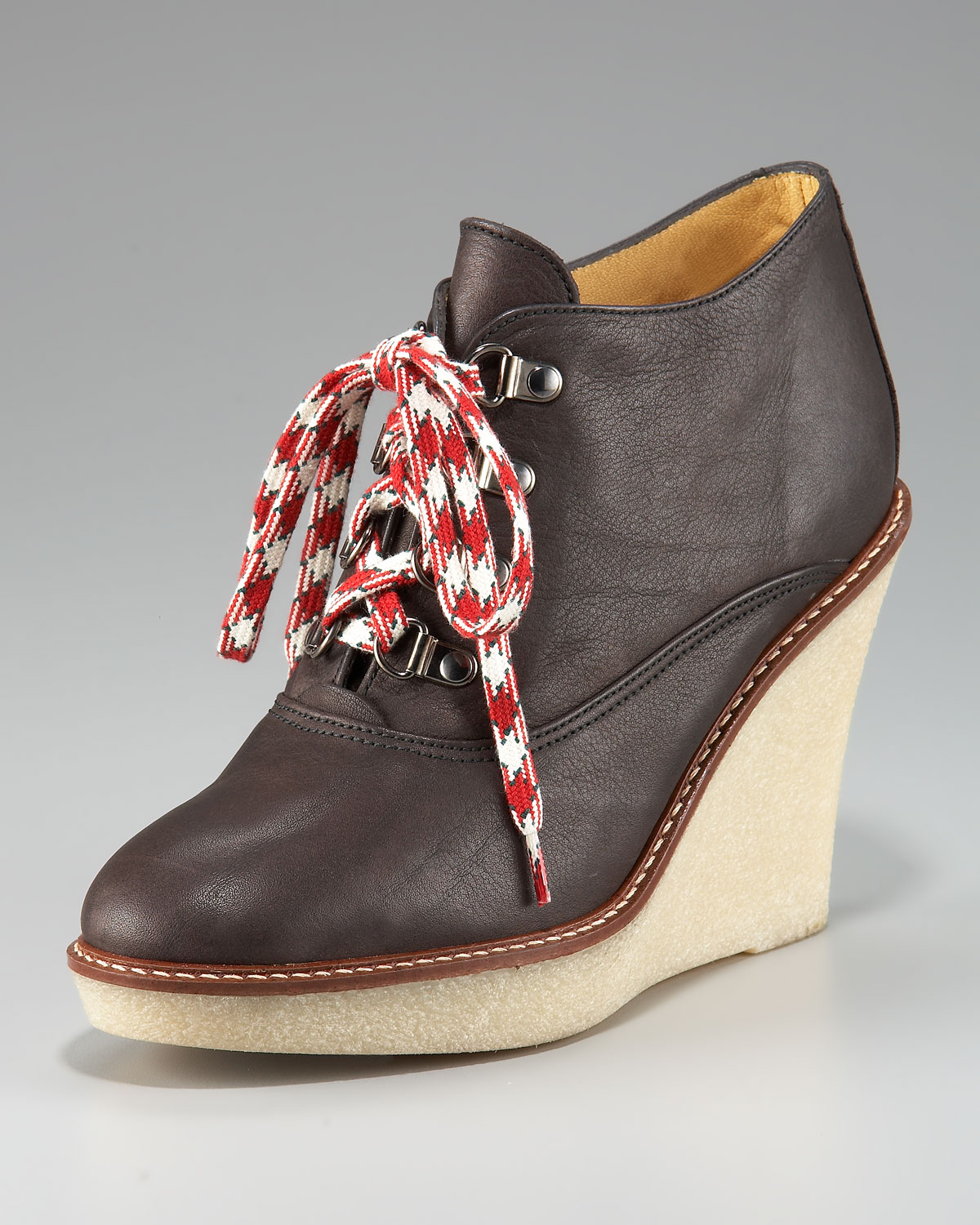 Lyst Bettye Muller Lace Up Wedge Bootie In Brown