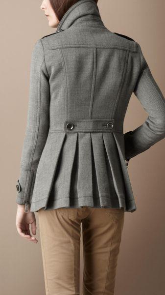 Burberry Brit Pleated Pea Coat In Gray Mid Grey M 233 Lange