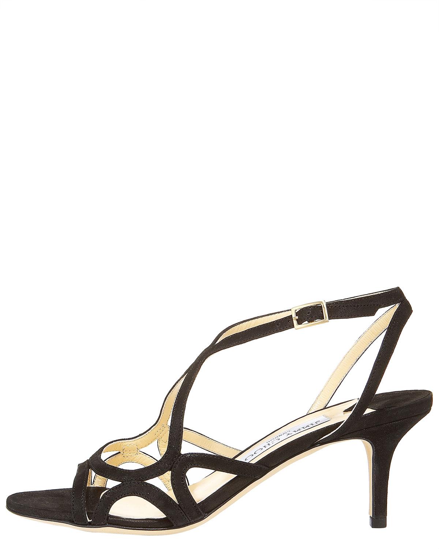 99da2538cd8 Lyst - Jimmy Choo Glittered Strappy Mid-Heel Sandal in Black
