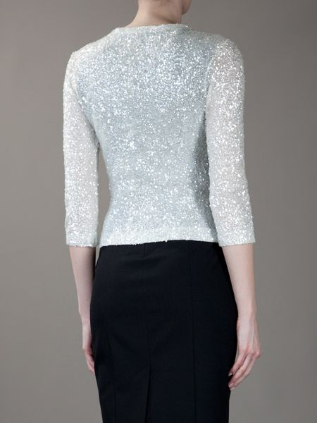 P A R O S H Sequin Cardigan In White Lyst