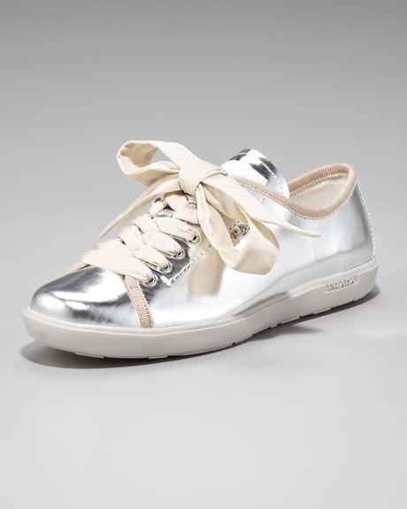 Prada Metallic Lace Up Sneaker In Silver Lyst