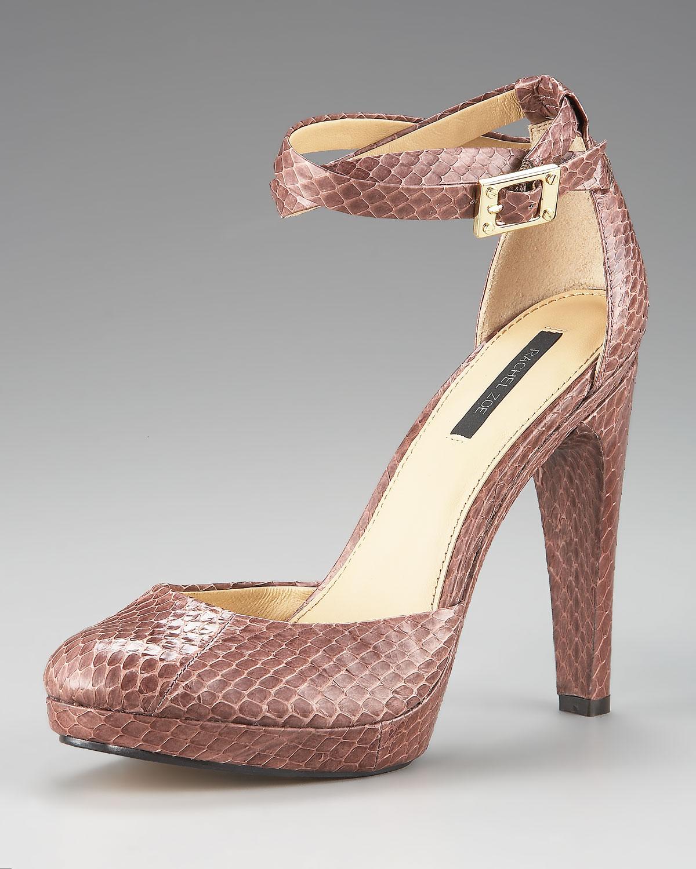 Rachel zoe Cole Snakeskin Ankle-strap Pump in Brown | Lyst