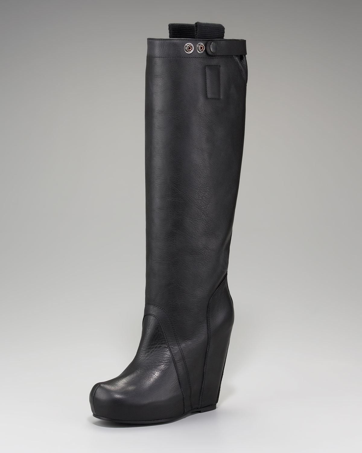 rick owens leather wedge boot in black lyst