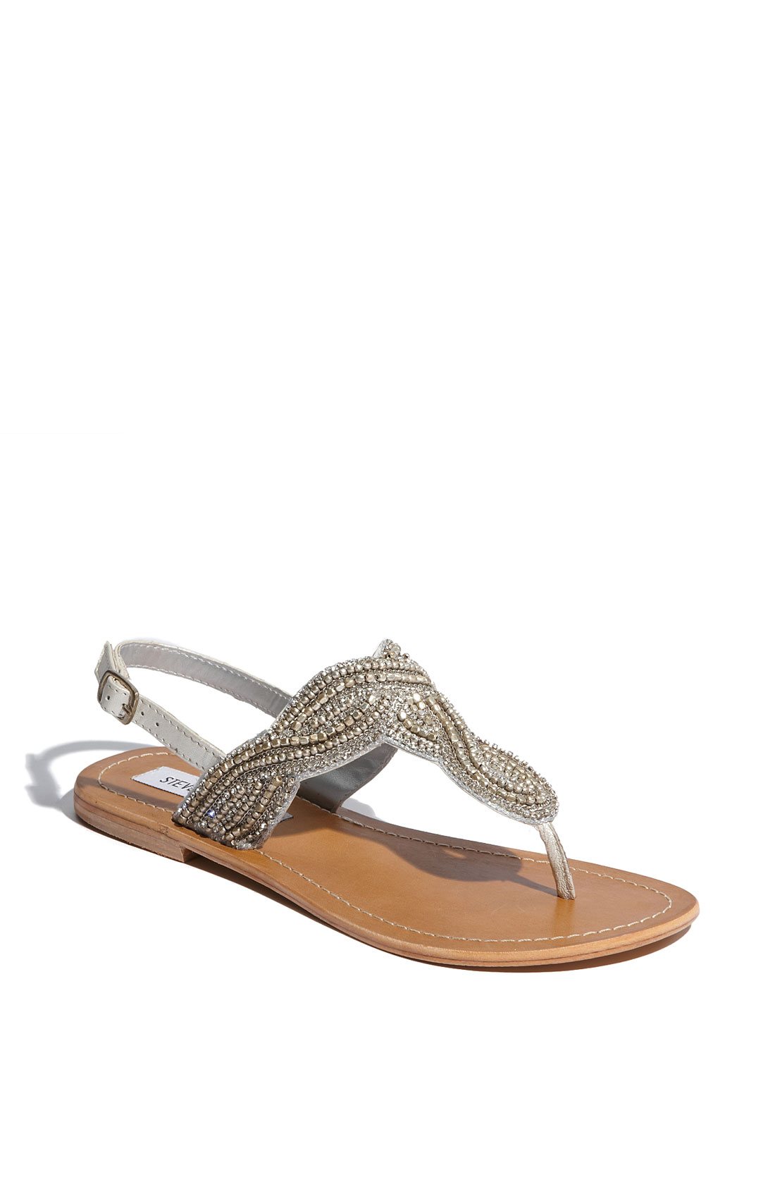 steve madden shiekk rhinestone twist flat sandals in gray pewter lyst