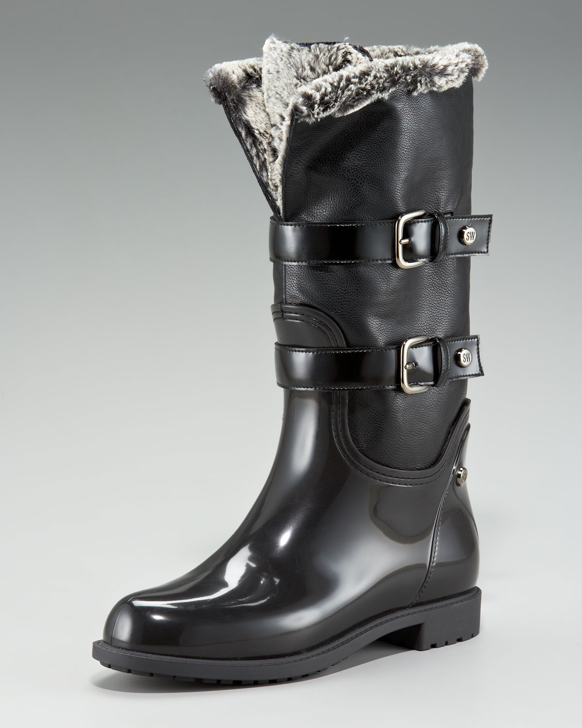 Stuart weitzman Faux-fur-lined Rain Boot in Black | Lyst