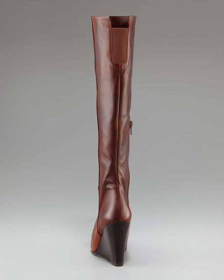 Stuart Weitzman Antique Leather Wedge Boot In Brown
