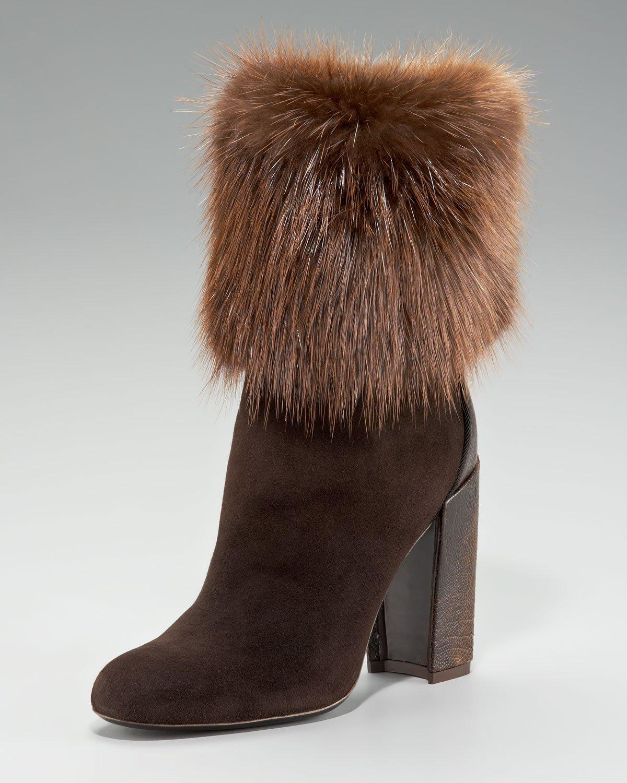 Lyst Saint Laurent Aurelya Fur Cuff Ostrich Heel Ankle