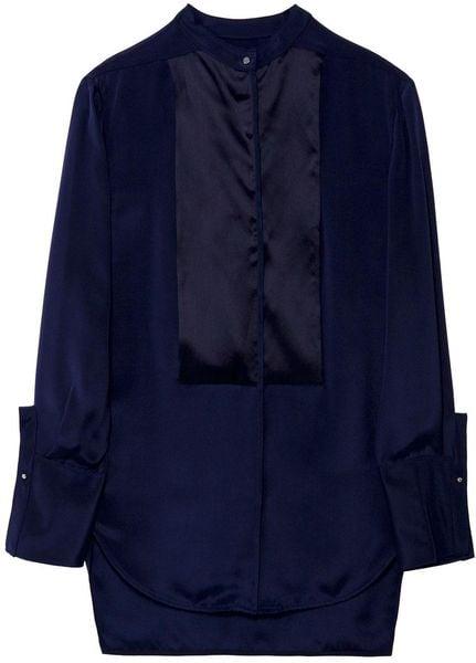 3.1 Phillip Lim Reverse Tuxedo Shirt in Blue - Lyst