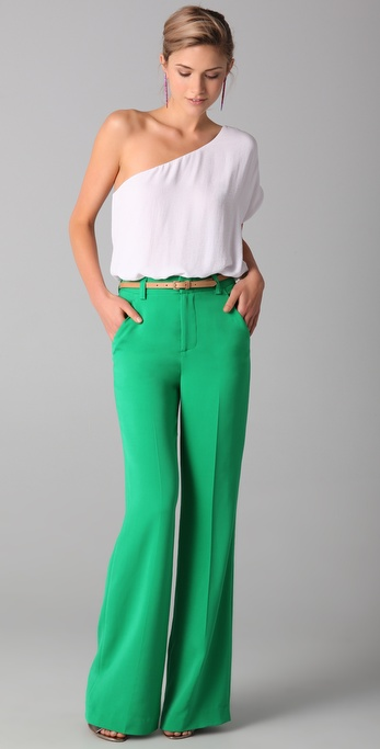 Alice   olivia High Waist Wide Leg Pants in Green | Lyst