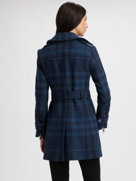 Burberry Brit Plaid Wool Blend Coat In Blue Lyst