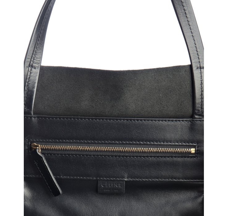 C¨¦line Black Leather Large Tote Bag in Black | Lyst