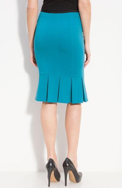 nanette lepore sacada pleat hem pencil skirt in blue