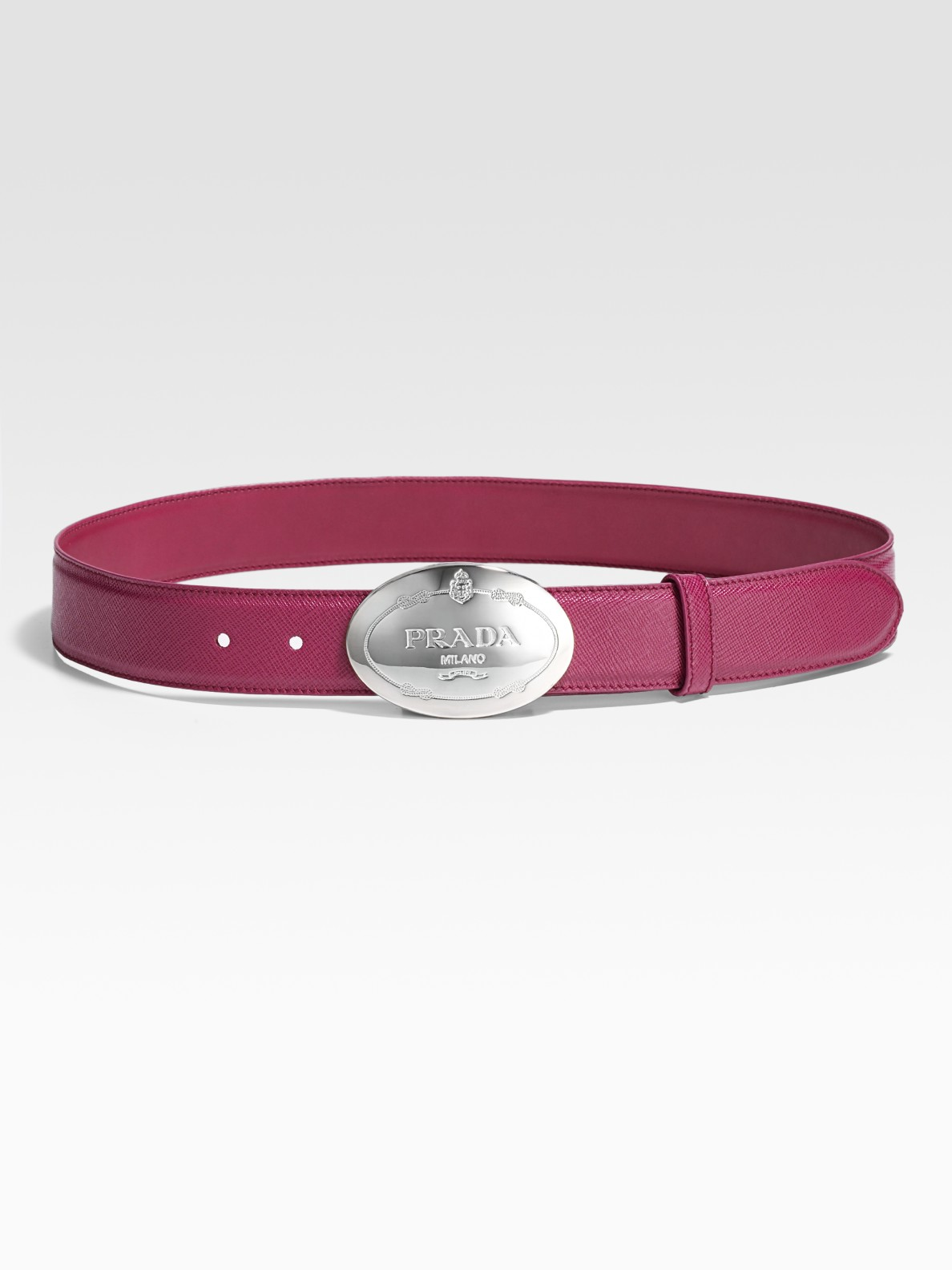 Prada Saffiano Engraved Belt in Purple | Lyst
