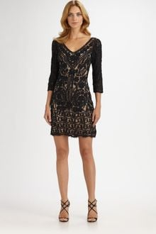 Sue Wong Soutache Lace Dress - Lyst