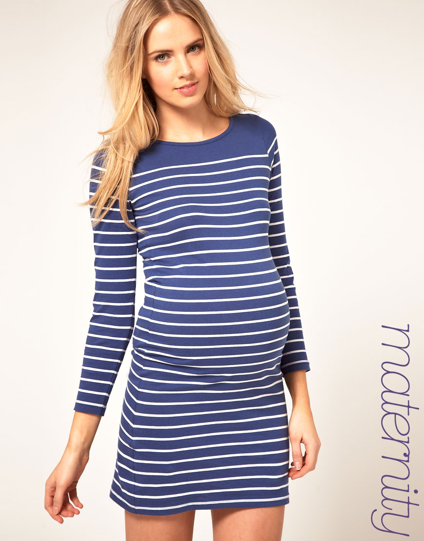 1377efe8fd22c ASOS Maternity Dress In Cotton Breton Stripe in Blue - Lyst