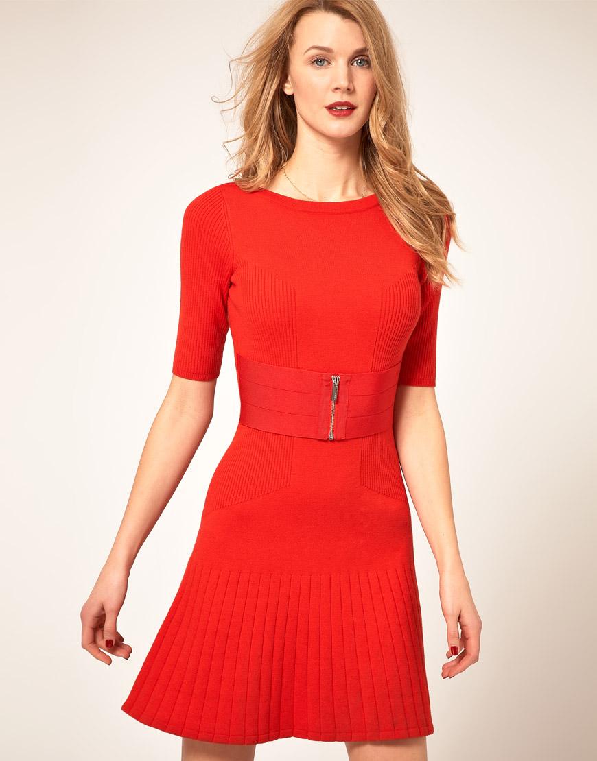 Karen Millen Fit Flare Knit Dress In Orange Lyst