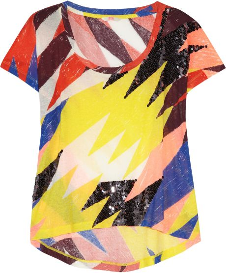 Sass & Bide Silence Is Golden Embellished Cotton T-shirt in Multicolor (multicolored)