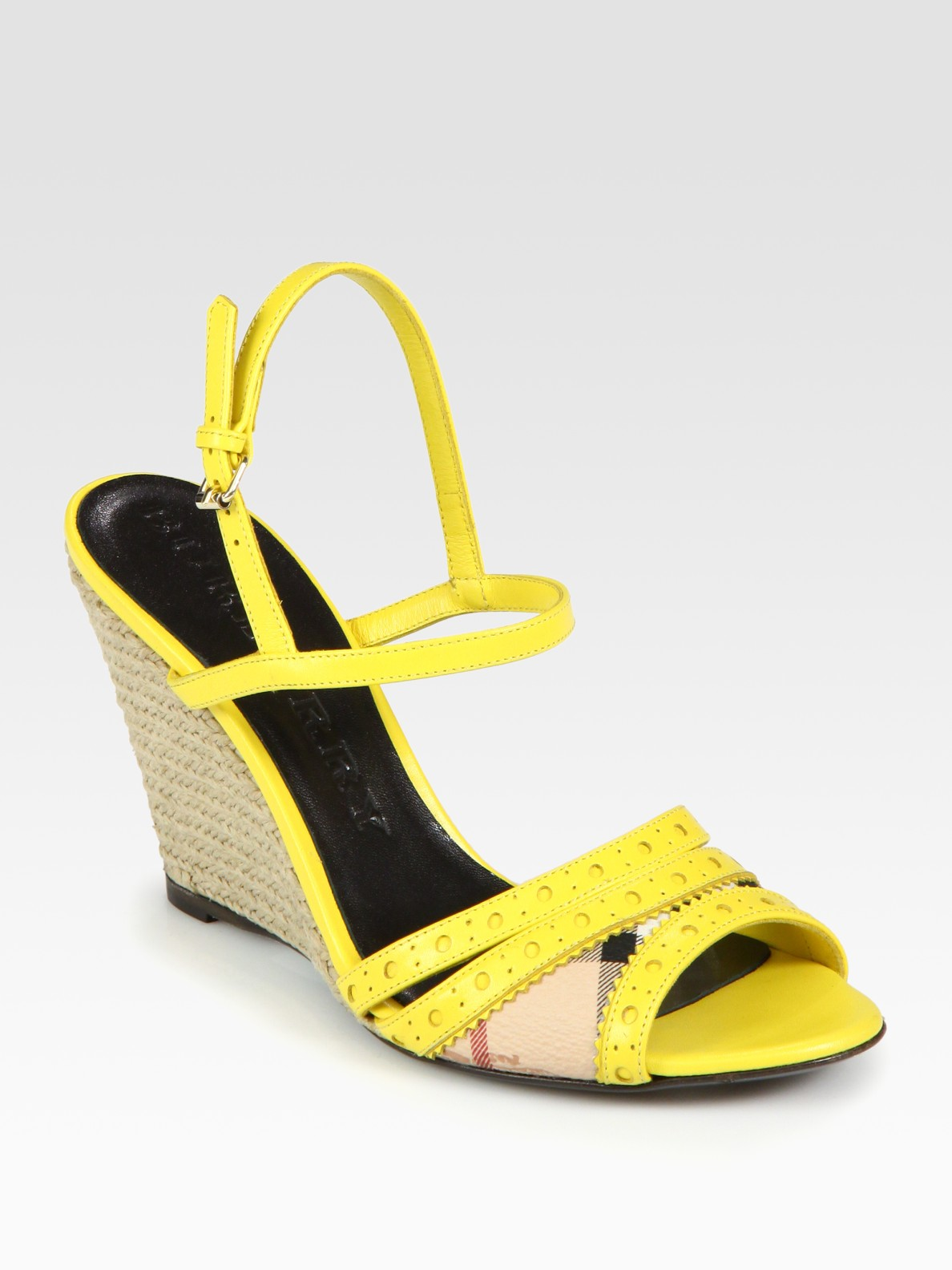 burberry leather slingback espadrille wedge sandals in