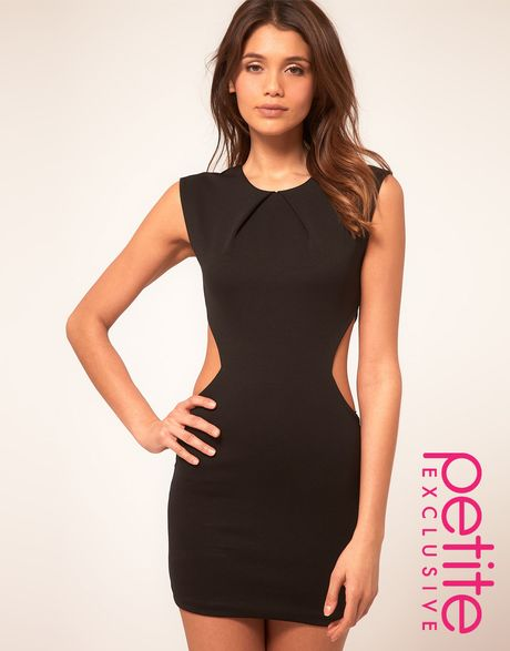 Asos Collection Asos Petite Exclusive Dress with Cut Out Sides and Pleat Neck Detail in Black
