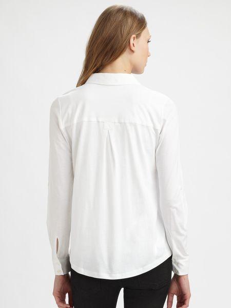 eileen fisher organic cotton button down shirt in white lyst