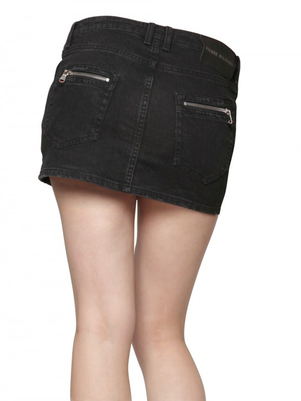Balmain Denim Stretch Mini Biker Skirt in Black | Lyst
