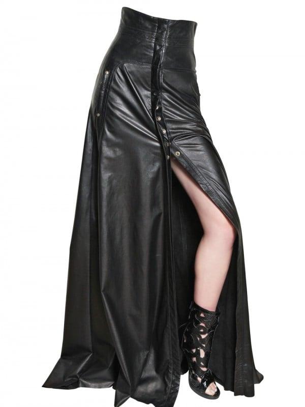 lyst balmain high waisted long leather skirt in black