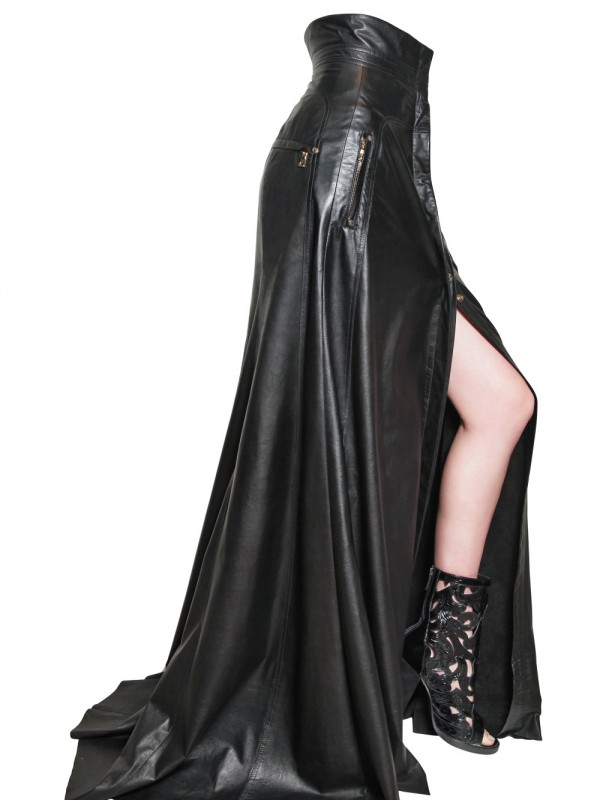 Balmain High Waisted Long Leather Skirt in Black   Lyst