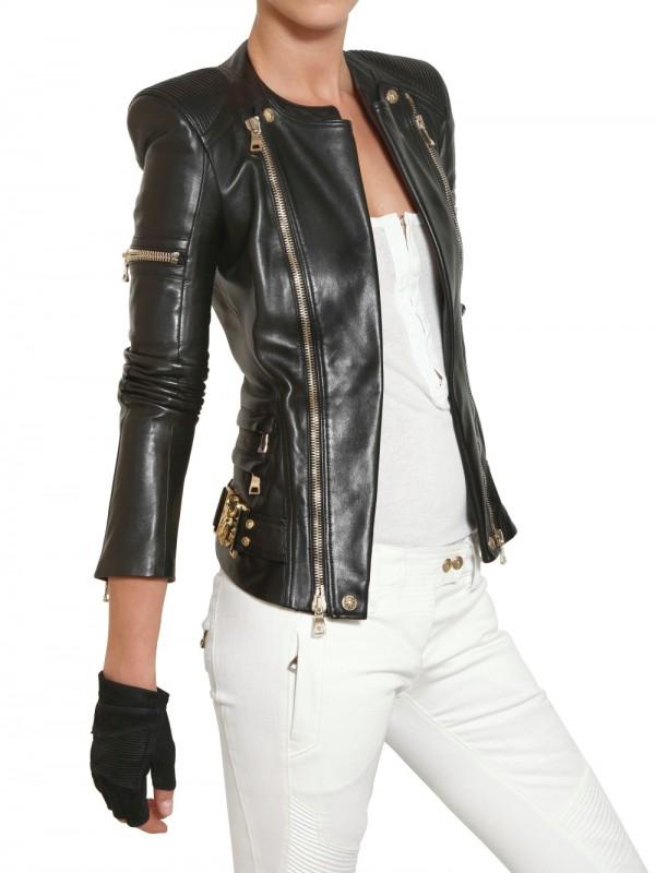 Balmain Nappa Biker Leather Jacket In Black Lyst