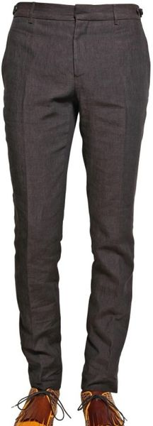Burberry Prorsum 17cm Chambray Linen Skinny Fit Trousers in Brown for Men