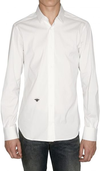 Dior homme embroidery bee slim fit poplin shirt in white