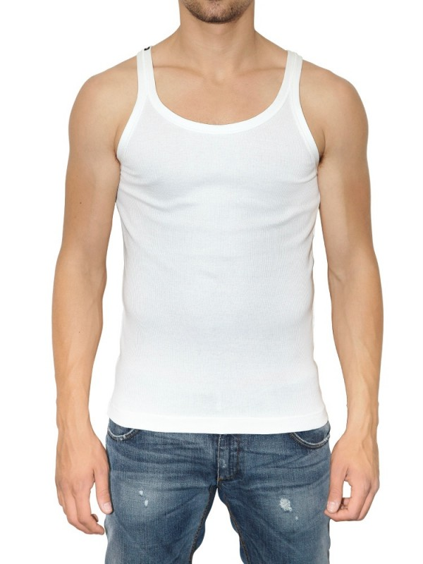 29ca03ba256a26 Lyst - Dolce   Gabbana Ribbed Jersey Tank Top in White for Men