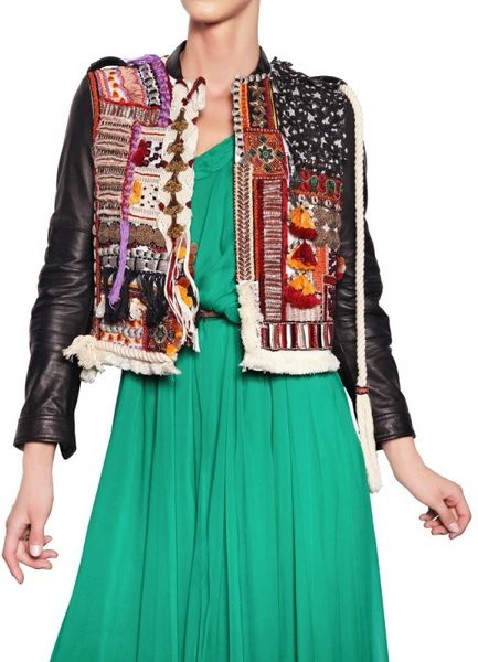 Dsquared² Embroidered Hippy Style Leather Jacket in Multicolor (multi)