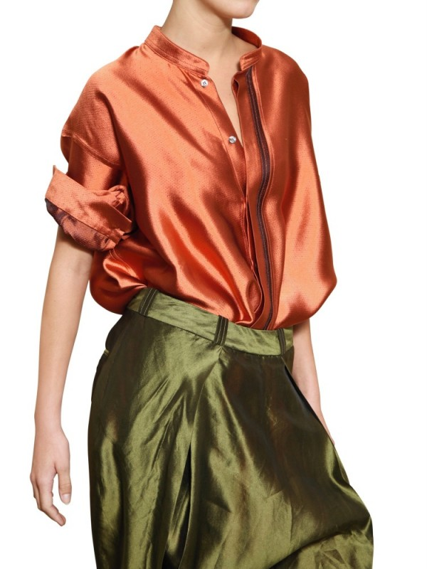 Lyst Haider Ackermann Oversize Silk Shantung Shirt In Orange
