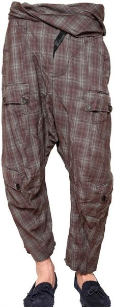 John Galliano Crinkled Checked Wool Trousers in Purple for Men (bordeaux)