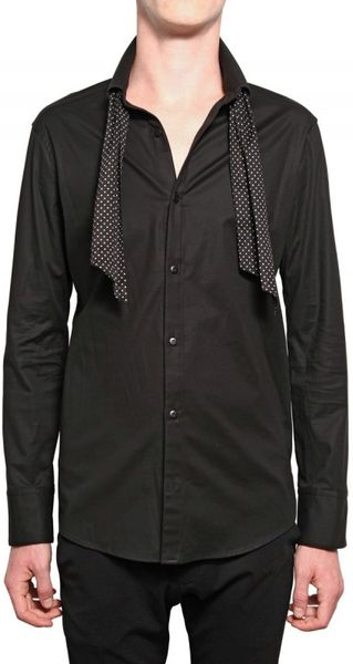 Kiryuyrik Ascot Tie Stretch Oxford Shirt In Black For Men