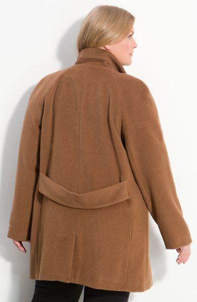 Kristen Blake Raglan Sleeve Wool Blend Coat In Beige Dark