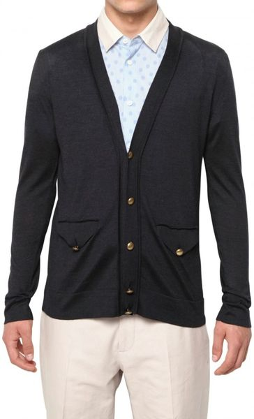 Marc Jacobs Silk Knit Cardigan Sweater in Blue for Men (navy)