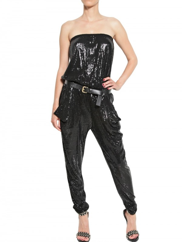 b9a24fdfbbc Lyst - MICHAEL Michael Kors Sequined Jumpsuit in Black