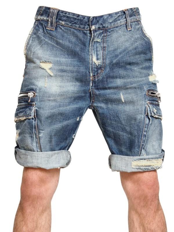 Balmain Destroyed Washed Denim Shorts in Blue for Men | Lyst